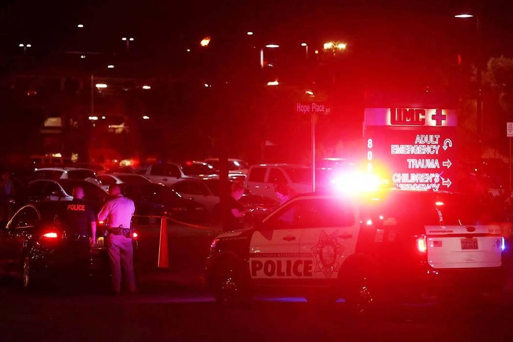 Officers are present outside University Medical Center's Trauma Center on Charleston Boulevard in Las Vegas, Sunday, Oct. 1, 2017. Bridget Bennett Las Vegas Review-Journal @Bridgetkbennett