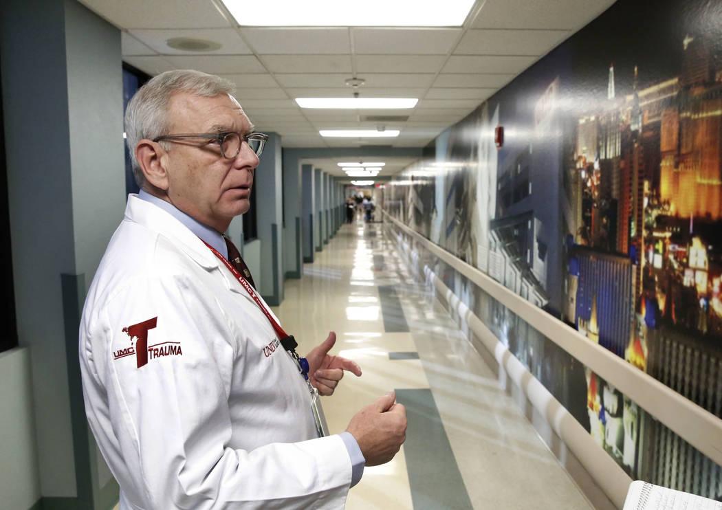 Dr. John Fildes, a trauma surgeon and University Medical Center's trauma director, speaks as he leads a tour of UMC's Trauma Center on Thursday Jan. 18, 2017, in Las Vegas. (Bizuayehu Tesfaye/Las  ...