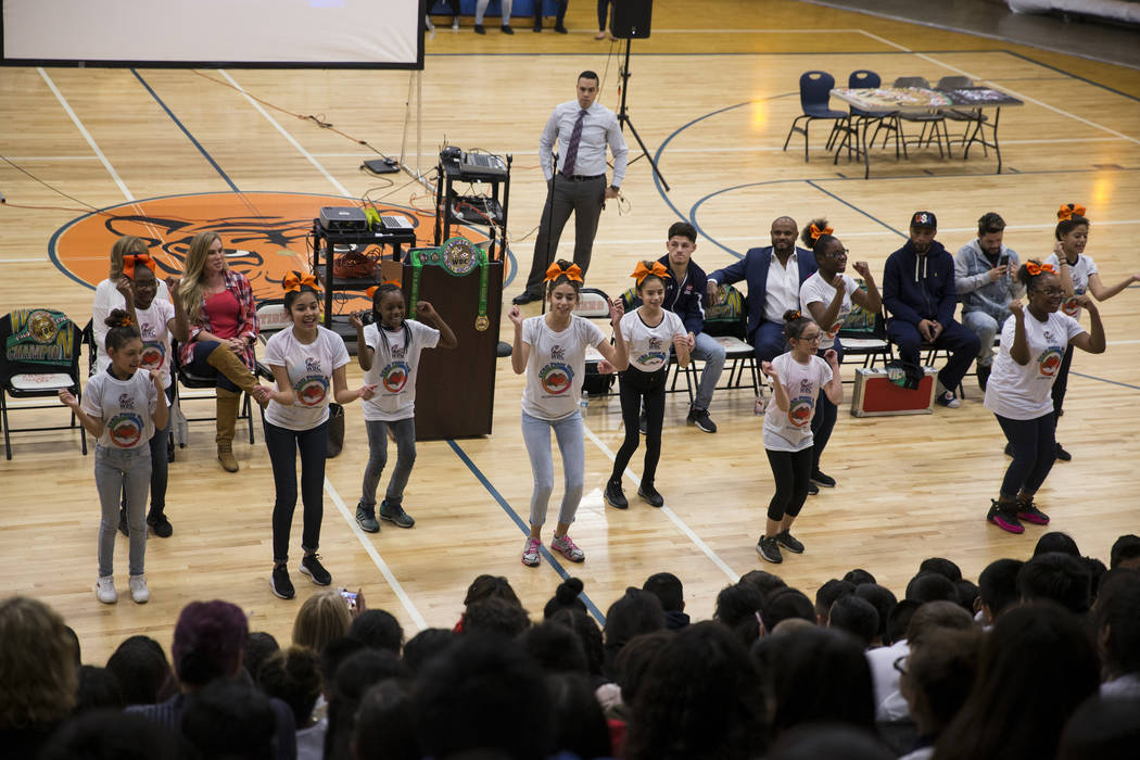 Student cheerleaders during a Clark County School District Peace Week assembly atʅd Von Tobel Middle School in Las Vegas, Thursday, Jan. 18, 2018. The event featured professional and amateur ...