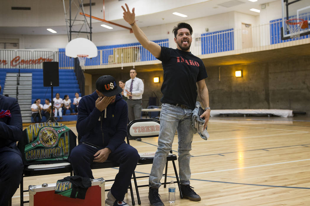 Boxer Diego Magdaleno during a Clark County School District Peace Week assembly at Ed Von Tobel Middle School in Las Vegas, Thursday, Jan. 18, 2018. The event featured professional and amateur box ...