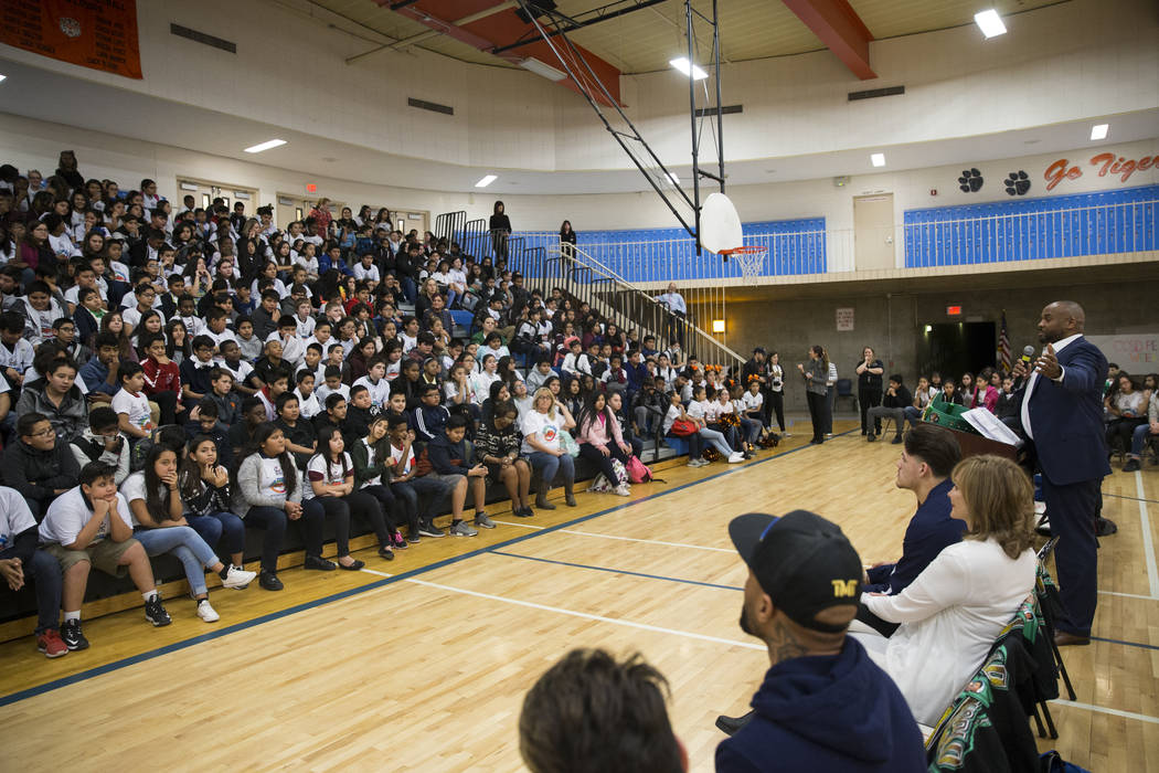 Boxing referee Robert Hoyle speaks to students during a Clark County School District Peace Week assembly at Ed Von Tobel Middle School in Las Vegas, Thursday, Jan. 18, 2018. The event featured pro ...