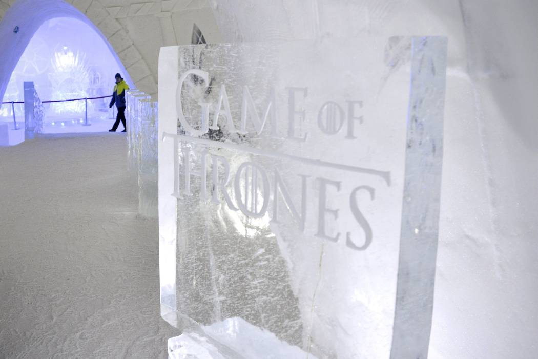 "A person  walks inside a ""Game of Thrones""-themed ice hotel in Kittila, Finnish Lapland on Sunday Jan. 14, 2018. (Aku H'yrynen/Lehtikuva via AP)"