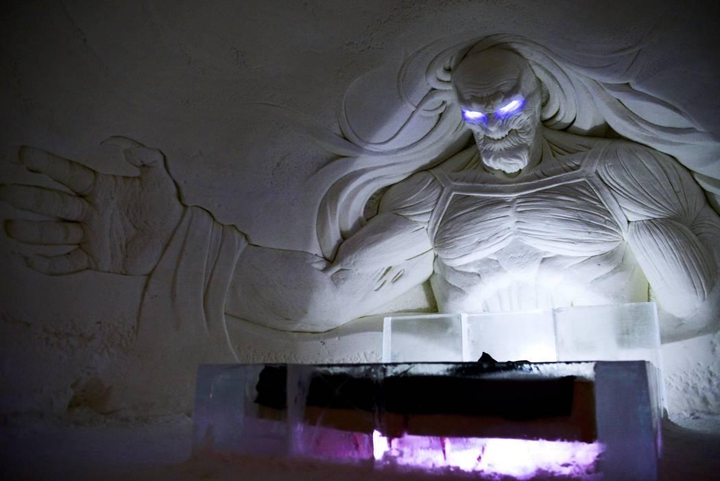 "A large decoration is seen inside the ""Game of Thrones""-themed ice hotel in Kittila, Finnish Lapland on Sunday Jan. 14, 2018. (Aku H'yrynen/Lehtikuva via AP)"
