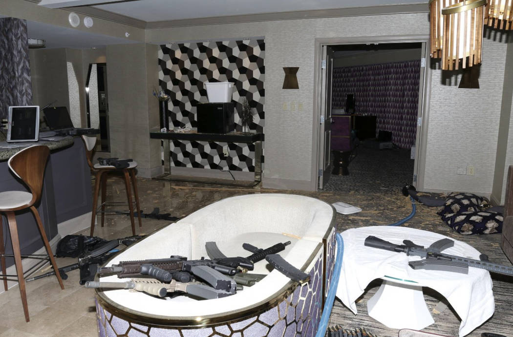 This Oct. 2017 photo released by the Las Vegas Metropolitan Police Department Force Investigation Team Report showing the interior of Las Vegas shooter Stephen Paddock's 32nd floor room of the Man ...