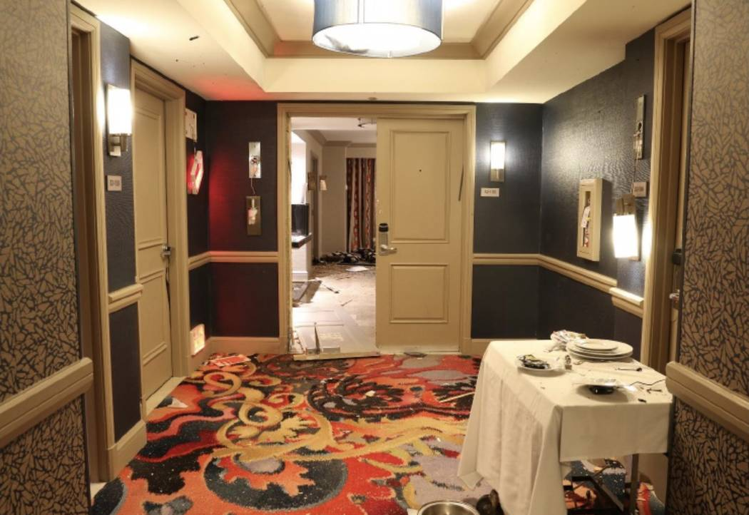 View from the hallway towards room 32-135. LVMPD.