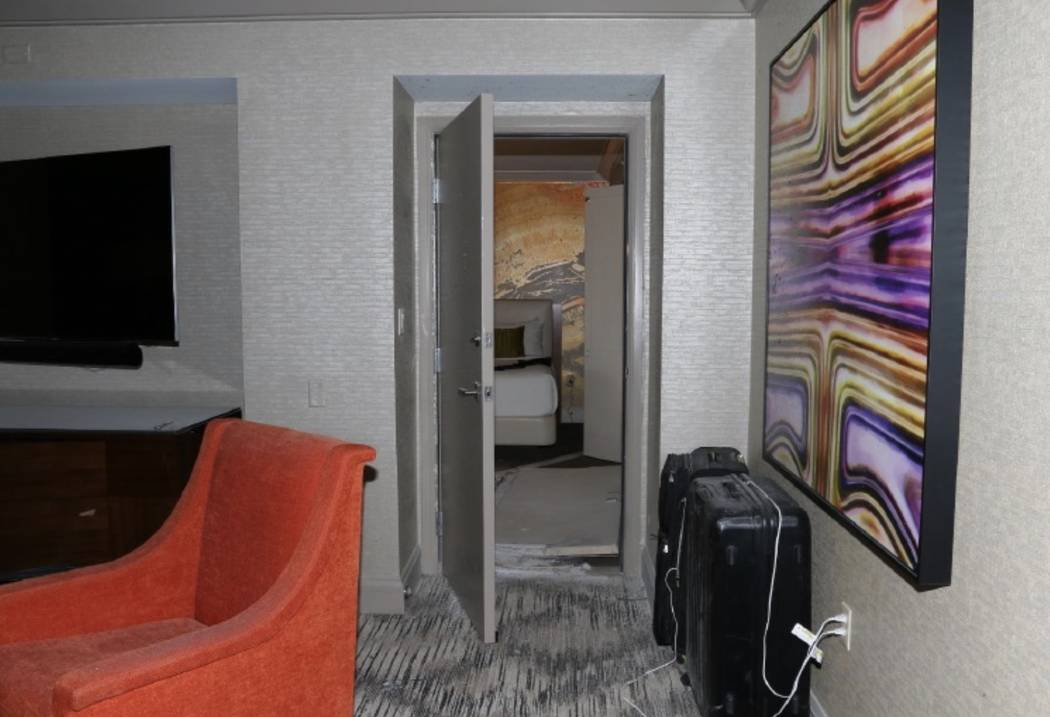 A view of the connecting doors between room 32-135 and 32-134. LVMPD.
