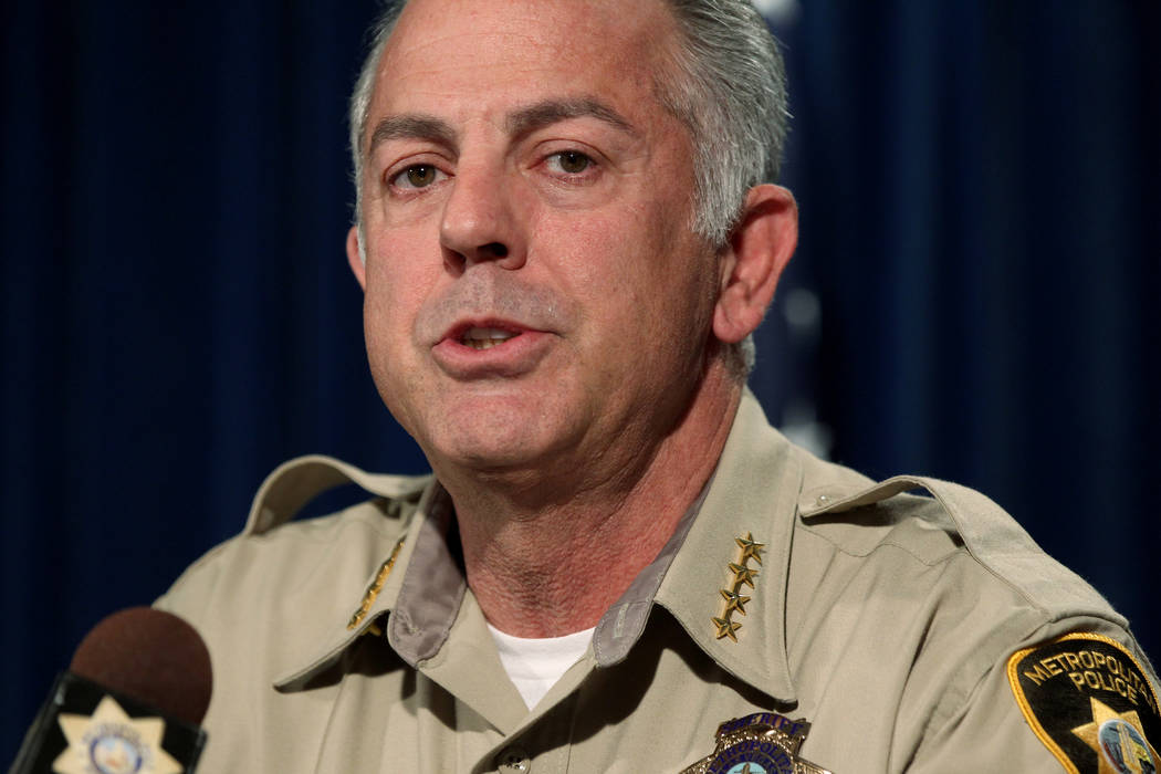 Clark County Sheriff Joe Lombardo updates the investigation into the Oct. 1 mass shooting on the Strip during a news conference at Metropolitan Police Department headquarters in Las Vegas Friday,  ...