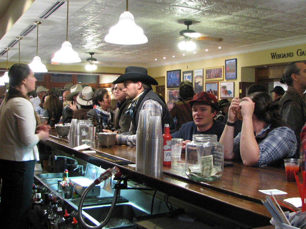 The lobby of the Western Folklife Center reverts to being the old Pioneer Saloon during the National Cowboy Poetry Gathering at Elko. (F. Andrew Taylor/Las Vegas Review-Journal)