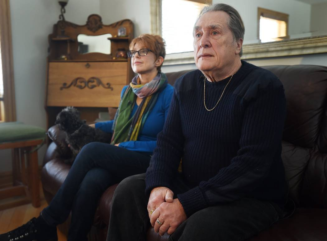 Susan and Lonnie Chester talk about their dogs and the night they found a woman in the driveway at their home near Vineyard Lake in Norvell Township, Mich., on Thursday, Jan. 18, 2017. (J. Scott P ...