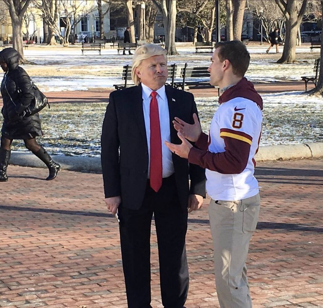 John Di Domenico of Las Vegas, a top Donald Trump impressionist, is shown with Redskins quarterback Kirk Cousins at the White House on Thursday, Jan. 18, 2018. The two were shooting a commercial f ...