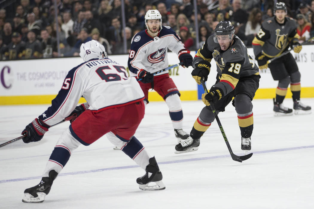 Vegas Golden Knights right wing Reilly Smith (19) looks for an open pass against Columbus Blue Jackets in the NHL game at T-Mobile Arena Las Vegas, Tuesday, Jan. 23, 2018. Erik Verduzco Las Vegas  ...