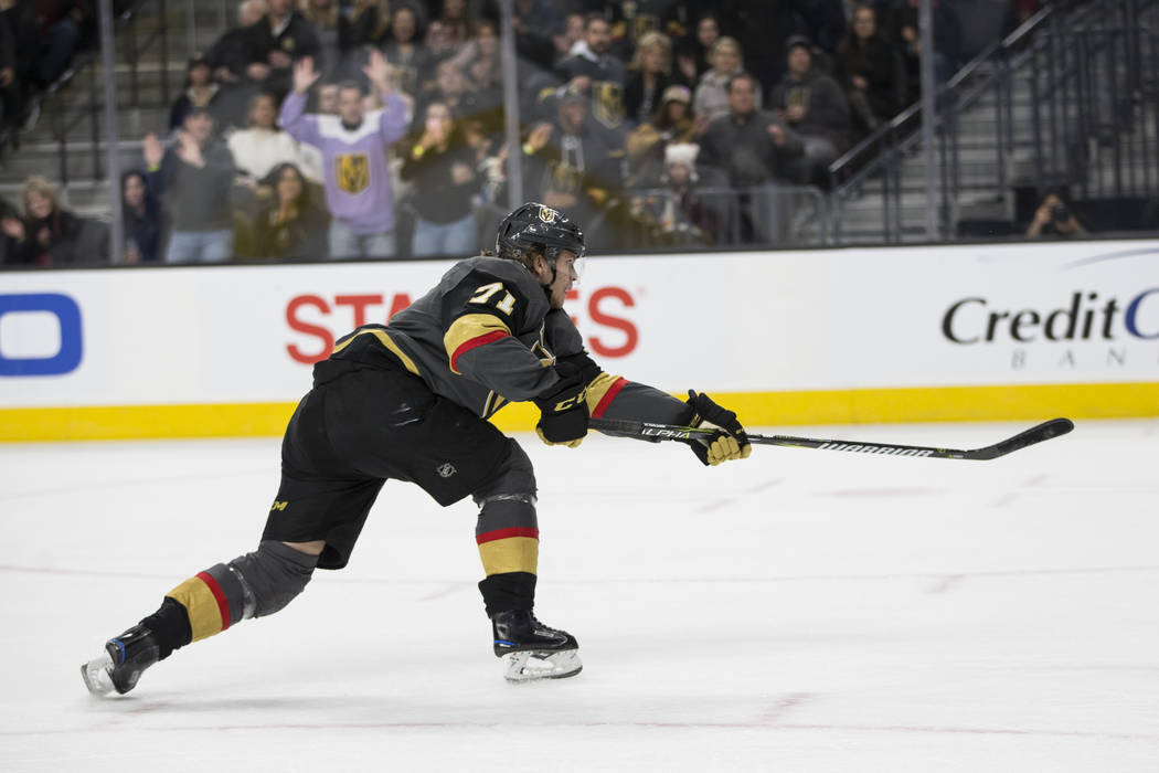 Vegas Golden Knights center William Karlsson (71) shoots the puck against Columbus Blue Jackets in the NHL game at T-Mobile Arena Las Vegas, Tuesday, Jan. 23, 2018. Erik Verduzco Las Vegas Review- ...