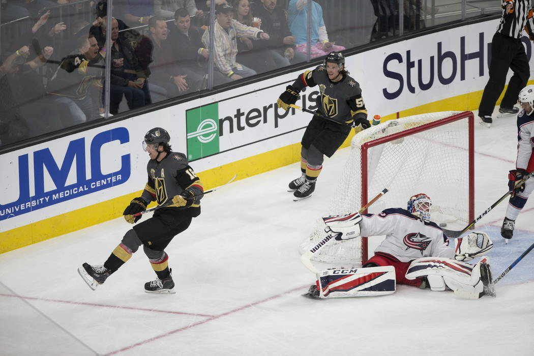 Vegas Golden Knights left wing James Neal (18) scores against the Columbus Blue Jackets in the NHL game at T-Mobile Arena Las Vegas, Tuesday, Jan. 23, 2018. Erik Verduzco Las Vegas Review-Journal  ...