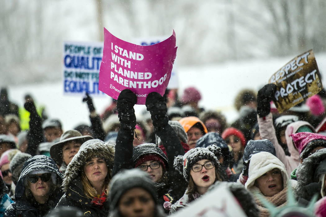 People gather during the Respect Rally in Park City, Utah, at City Park on Saturday, Jan. 20, 2018. In Park City, Utah, where the annual Sundance Film Festival is in full swing, actress Jane Fonda ...