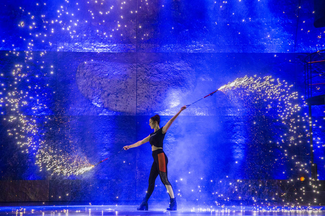 Fire dancer Rachel Martin performs with a pyro prop during a walk through for the new show Inferno on Thursday, January 18, 2018, at Paris hotel-casino, in Las Vegas. Benjamin Hager Las Vegas Revi ...