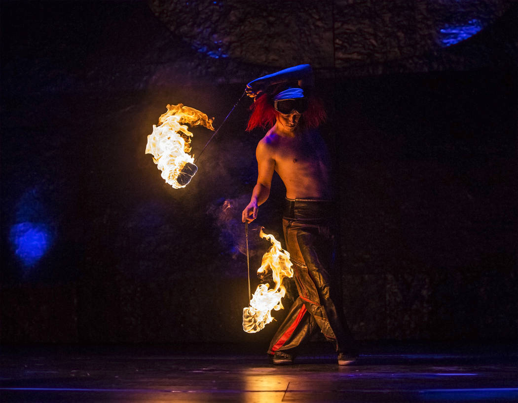 Fire dancer Ronnie Nilsson performers during a walk through for the new show Inferno on Thursday, January 18, 2018, at Paris hotel-casino, in Las Vegas. Benjamin Hager Las Vegas Review-Journal @be ...