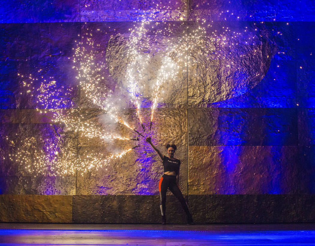 Fire dancer Jasmine May performs with a pyro prop during a walk through for the new show Inferno on Thursday, January 18, 2018, at Paris hotel-casino, in Las Vegas. Benjamin Hager Las Vegas Review ...