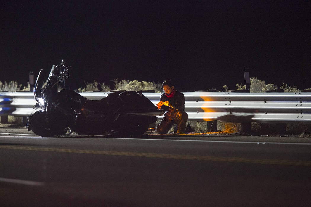 Nevada Highway Patrol is investigating a deadly crash involving a motorcycle and a passenger car on State Route 160 near mile marker 22 west of Mountain Springs, Nevada on Friday, Jan. 19, 2018. R ...
