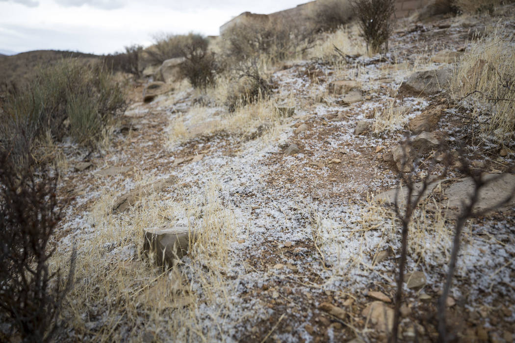 A light blanket of snow and scattered rain passed through Red Rock Canyon National Conservation Area on Saturday, Jan. 20, 2018. Richard Brian Las Vegas Review-Journal @vegasphotograph