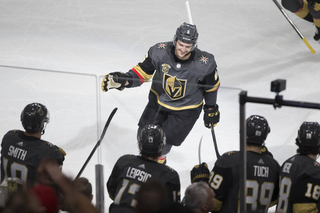 Vegas Golden Knights defenseman Colin Miller (6) celebrates a goal in the second quarter against Columbus Blue Jackets in the NHL game at T-Mobile Arena Las Vegas, Tuesday, Jan. 23, 2018. Erik Ver ...