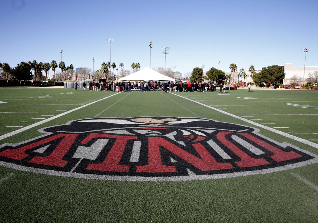 People attend the groundbreaking ceremony for the new Fertitta Football Complex on Tuesday, Jan. 23, 2018, at UNLV in Las Vegas. (Bizuayehu Tesfaye/Las Vegas Review-Journal) @bizutesfaye