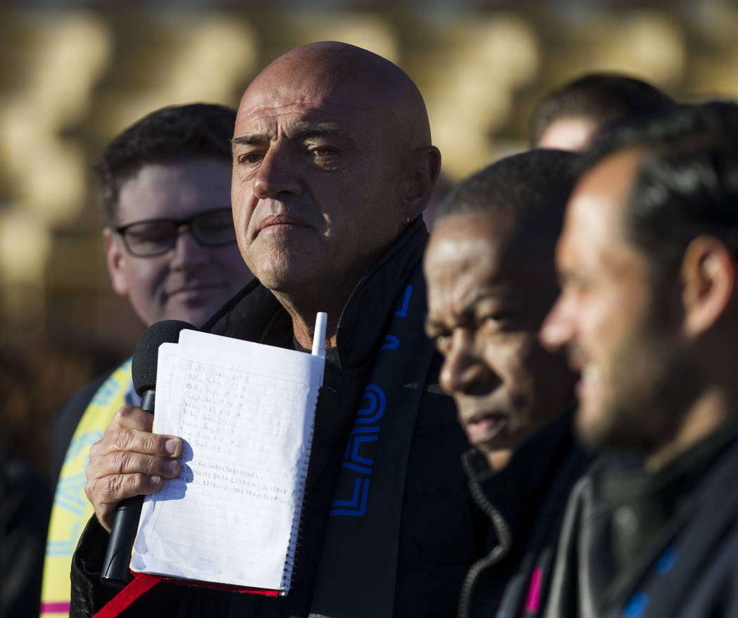 Las Vegas Lights FC head coach José Luis Sánchez Solá during an event to lay the first pieces of turf at Cashman Field to help transition the stadium from a baseball to a soccer ven ...