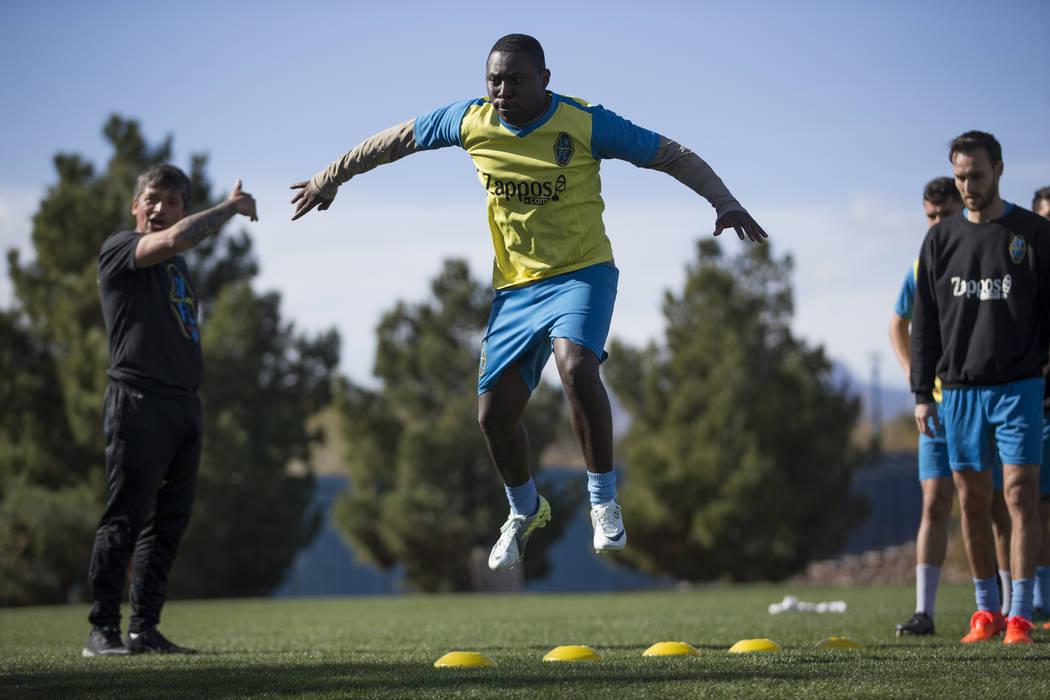 Freddy Adu during a Las Vegas Light FC team practice at Kellogg Zaher Soccer Complex in Las Vegas, Thursday, Jan. 25, 2018. Erik Verduzco Las Vegas Review-Journal @Erik_Verduzco