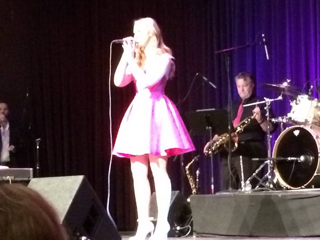 Katelyn Murphy, a student from of the Positively Arts Foundation, takes the stage Jan. 14, 2018, at Red Rock Resorts' Rocks Lounge. The show features up-and-coming young people who want to be in s ...