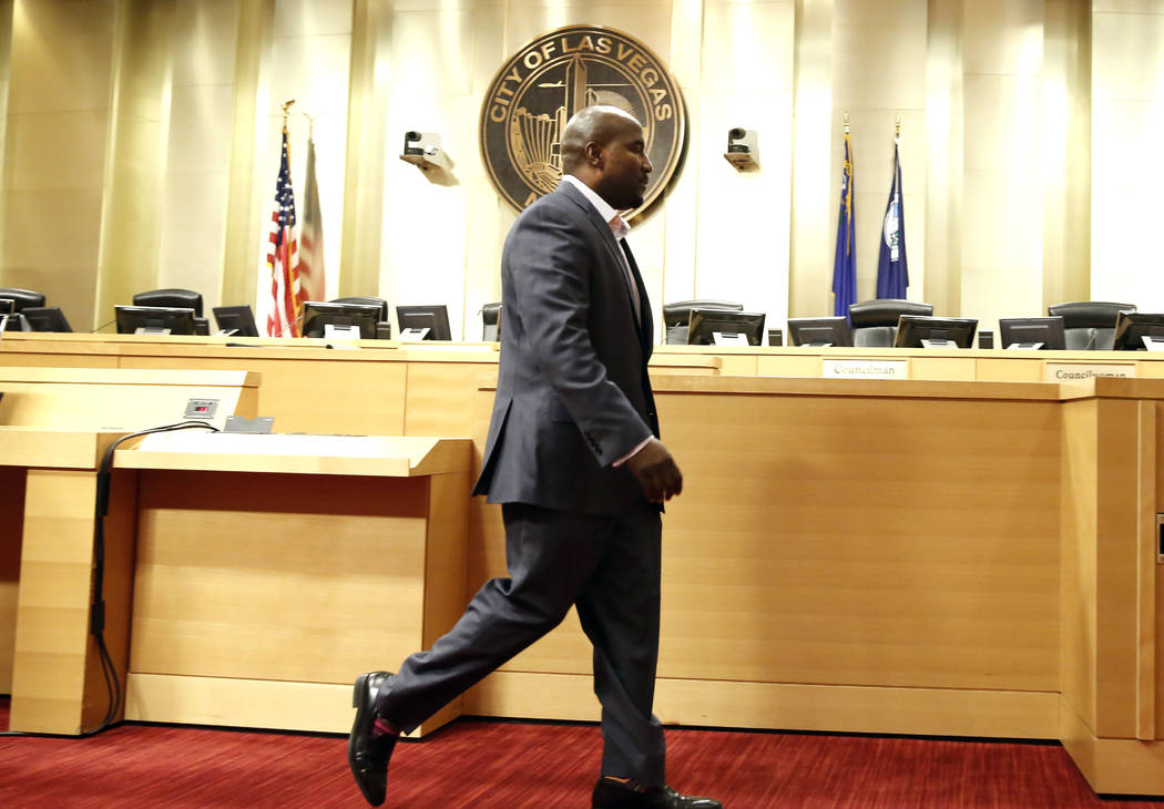 Las Vegas City Councilman Ricki Y. Barlow leaves the podium after announcing his resignation during a press conference in council chambers at City Hall on Monday, Jan. 22, 2017, in Las Vegas. (Biz ...