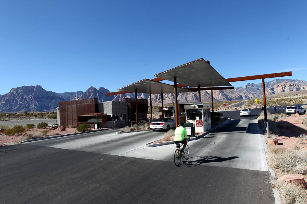 The fee booths at Red Rock Canyon National Conservation Area scenic loop are closed Monday, Jan. 22, 2018. While the gates were open, the fee booths, visitor center and bathrooms were closed due t ...