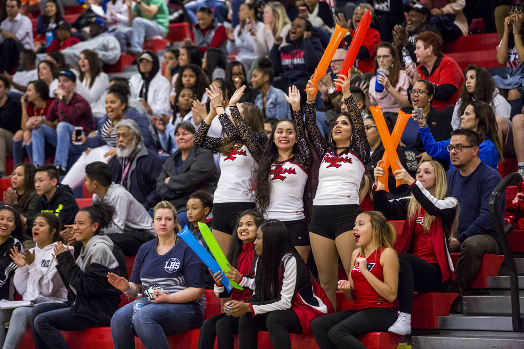 Liberty fans cheer after a point during a game against Coronado at Liberty High School on Tuesday, Jan. 23, 2018. Liberty won 98-87.  Patrick Connolly Las Vegas Review-Journal @PConnPie