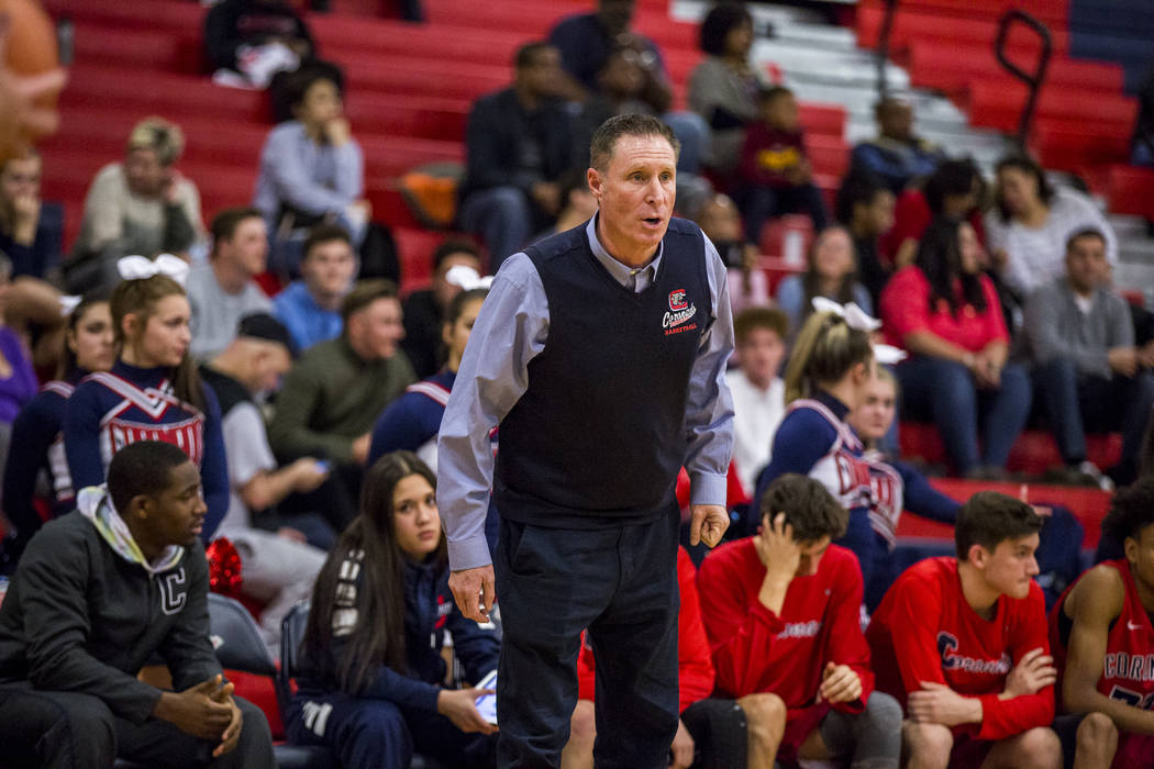 Coronado head coach Jeff Kaufman yells from the bench during a game against Liberty at Liberty High School on Tuesday, Jan. 23, 2018. Liberty won 98-87.  Patrick Connolly Las Vegas Review-Journal  ...