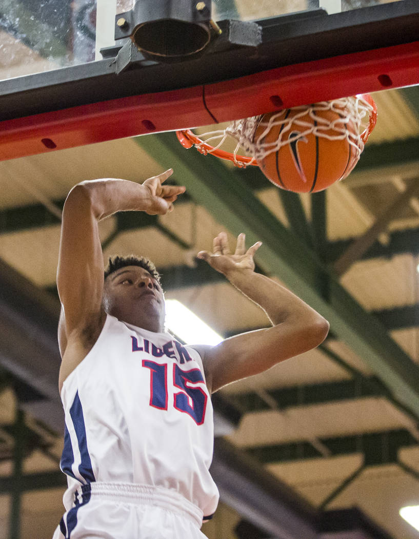 Liberty's Cameron Burist (15) dunks while playing against Coronado at Liberty High School on Tuesday, Jan. 23, 2018. Liberty won 98-87.  Patrick Connolly Las Vegas Review-Journal @PConnPie