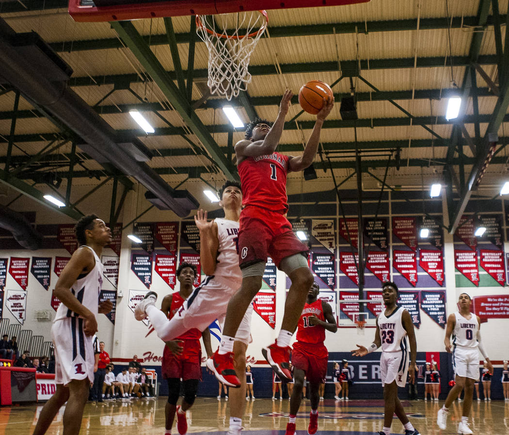 Coronado's Jaden Hardy (1) goes up for a shot while other players watch during game against Liberty at Liberty High School on Tuesday, Jan. 23, 2018. Liberty won 98-87.  Patrick Connolly Las Vegas ...