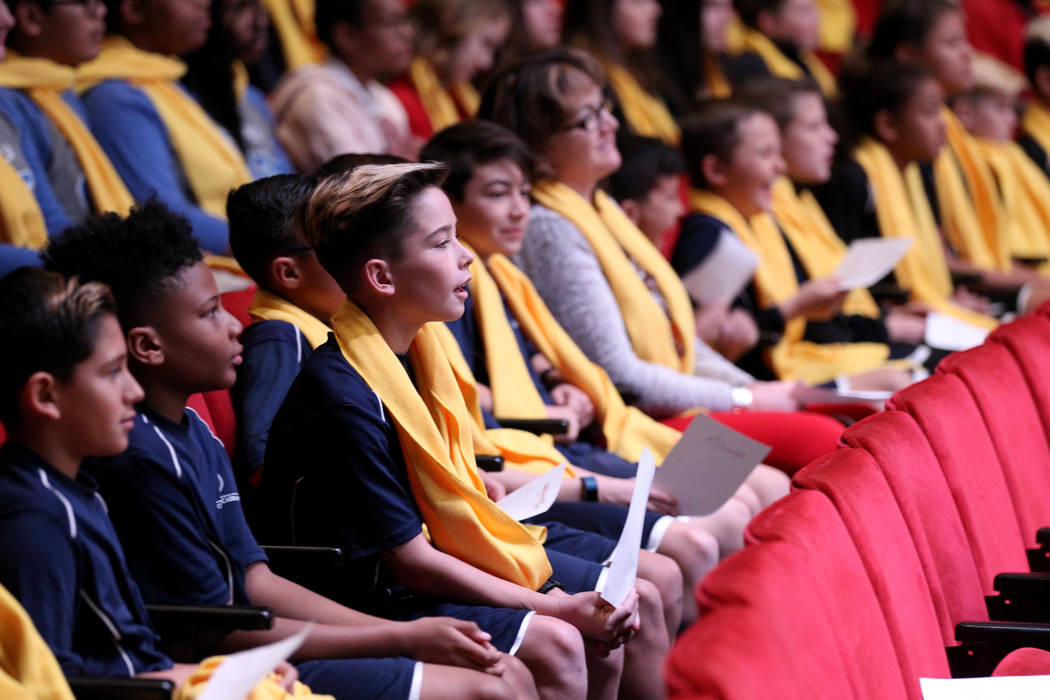 Students from International Christian Academy Soccer Academy watch a performance at UNLV to celebrate National School Choice Week Tuesday, Jan. 23, 2018. Over 1,800 students, teacher and families  ...