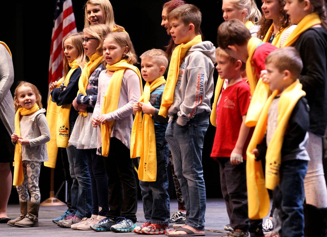 Students from Classical Conversations of Southern Nevada perform at UNLV to celebrate National School Choice Week Tuesday, Jan. 23, 2018. Over 1,800 students, teacher and families watched several  ...