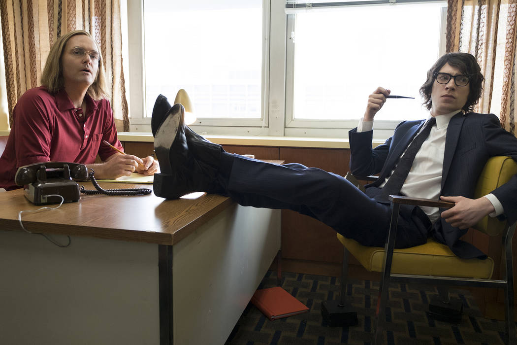 """Will Forte, left, portrays Doug Kenney and Domhnall Gleeson co-stars as Henry Beard, the founders of National Lampoon, in a scene from """"A Futile And Stupid Gesture."""" (John P. Fle ..."""