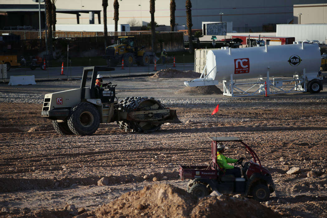 The site of the future Raiders football stadium in Las Vegas, Tuesday, Jan. 16, 2018. (Erik Verduzco/Las Vegas Review-Journal) @Erik_Verduzco