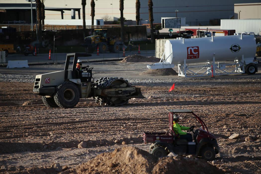 The site of the future Raiders football stadium in Las Vegas, Tuesday, Jan. 16, 2018. (Erik Verduzco/Las Vegas Review-Journal) @Erik_Verduzco