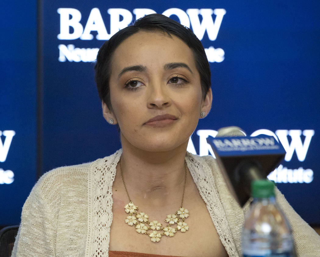 Route 91 Harvest festival survivors Jovanna Calzadillas and her husband Frank Calzadillas, not shown, of San Tan Valley, Ariz., during a press conference at the Barrow Neurological Institute at St ...