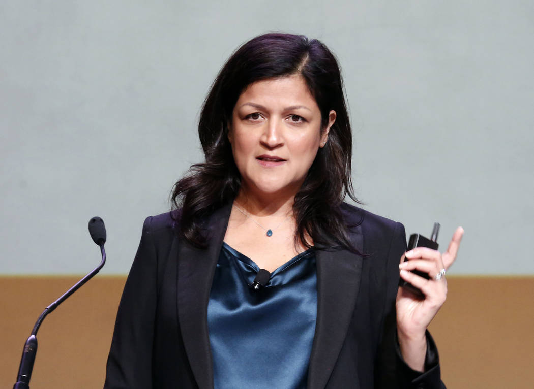 Anjali Kumar, chief people officer and general council, Cheddar, speaks during Preview Las Vegas, the Las Vegas Metropolitan Chamber of Commerce's largest annual networking event, at Cox Pa ...