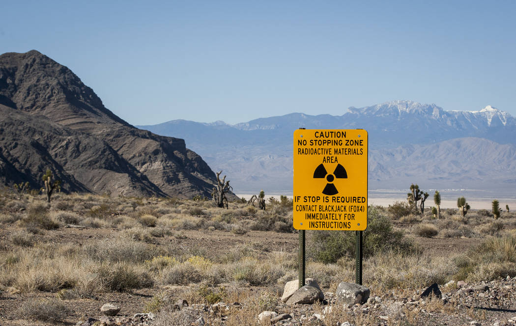 A sign warning of radioactive materials before entering an area for testing depleted uranium weaponry during a range tour on the Nellis Air Force Base on Sunday, May 21, 2017. Patrick Connolly Las ...