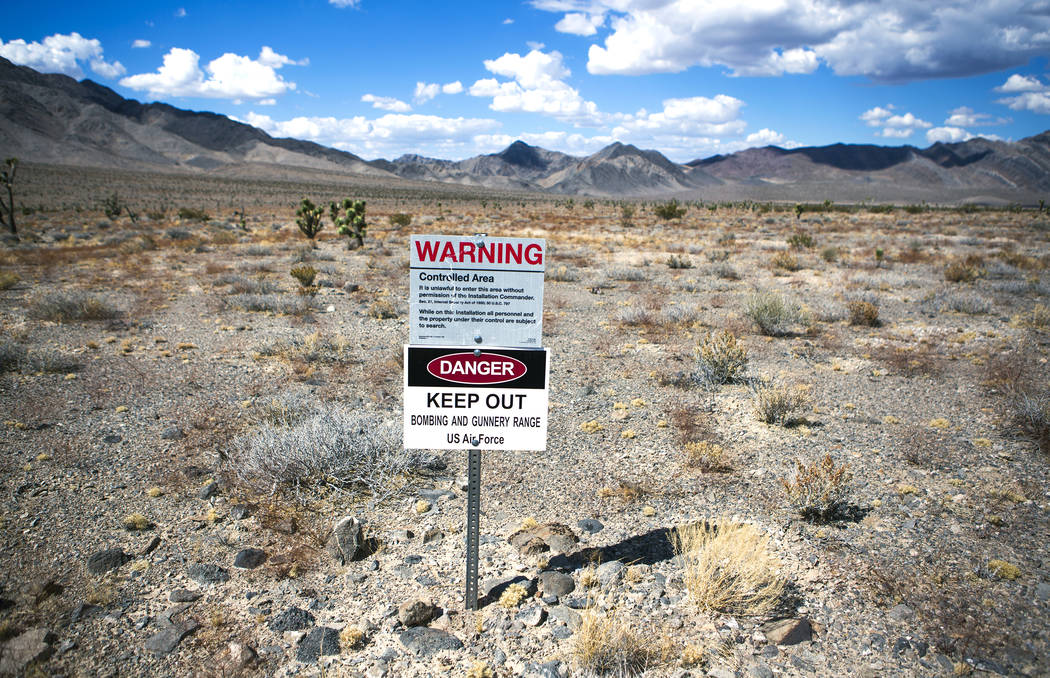 A sign is posted in the Desert National Wildlife Refuge warning travelers not to trespass on the gunnery range is seen in 2016. (Las Vegas Review-Journal)