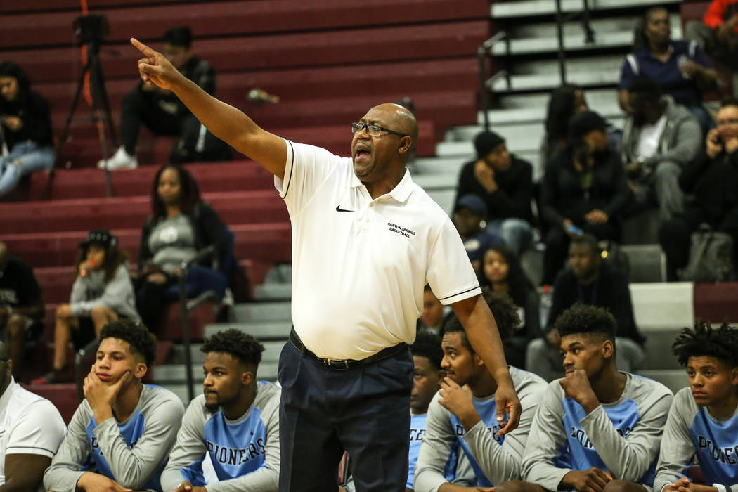 Canyon Springs head coach Freddie Banks reacts during the third quarter of basketball game against Desert Oasis at Desert Oasis High School in Las Vegas, Monday, Nov. 27, 2017.  Joel Angel Juarez  ...