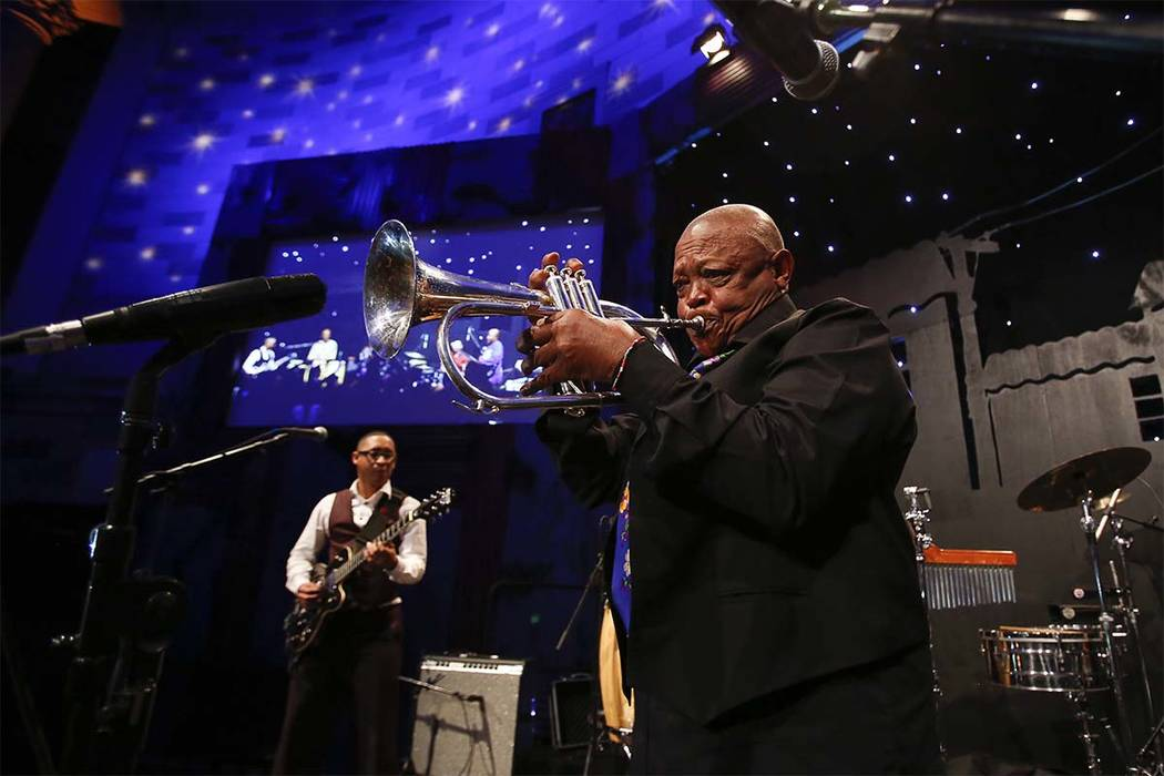 Legendary jazz musician Hugh Masekela performs at the Ubuntu Education Fund 15 Year Anniversary NYC Gala at Gotham Hall on Thursday, June 5, 2014, in New York City. (Mark Von Holden/Invision for U ...