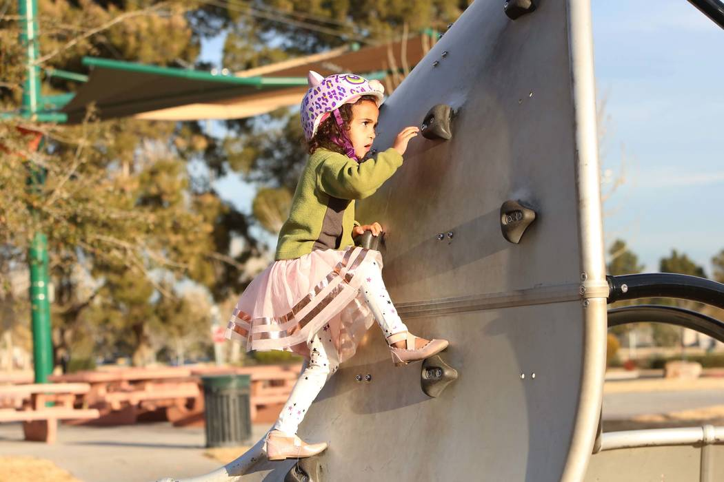 Zoe Tesfai, 4, plays at the Sunset Park playground on Friday, Jan. 19, 2017, in Las Vegas. (Bizuayehu Tesfaye/Las Vegas Review-Journal) @bizutesfaye