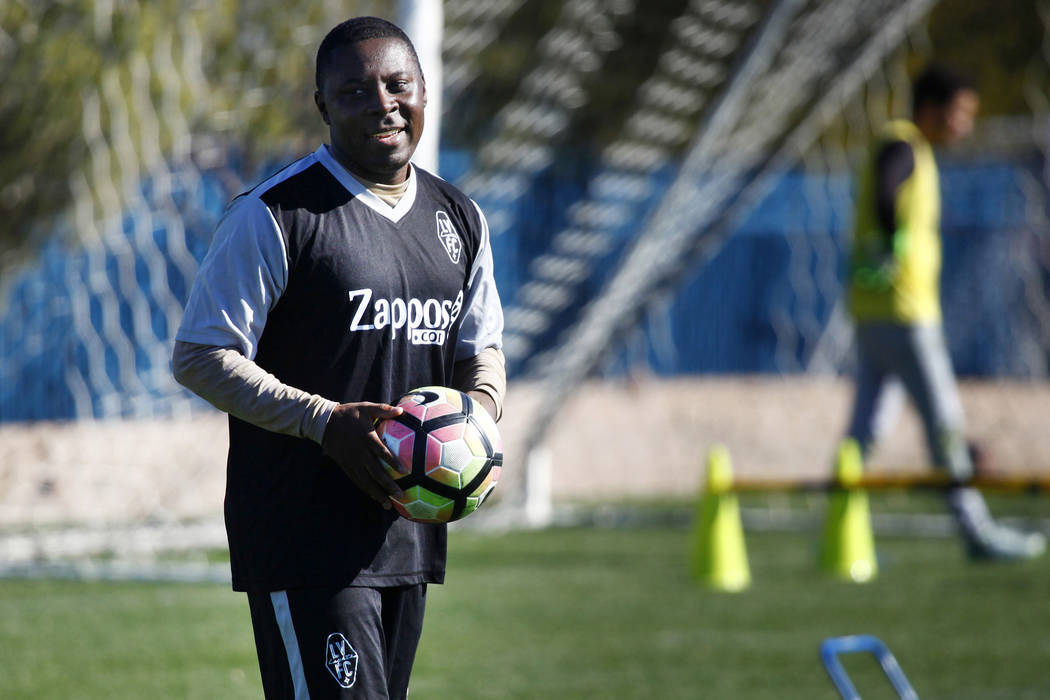 Former U.S. national team member Freddy Adu tries out for the Las Vegas Lights FC at the team's practice field in Las Vegas, Tuesday, Jan. 23, 2018. Heidi Fang Las Vegas Review-Journal @HeidiFang