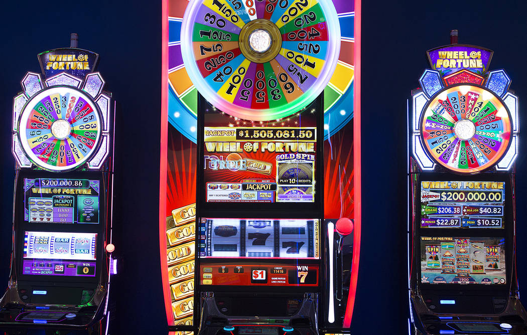 A Wheel of Fortune mega tower, center, in the showroom at International Game Technology, also referred to as IGT, on Wednesday, Sept. 20, 2017, in Las Vegas.  Bridget Bennett Las Vegas Review-Jour ...