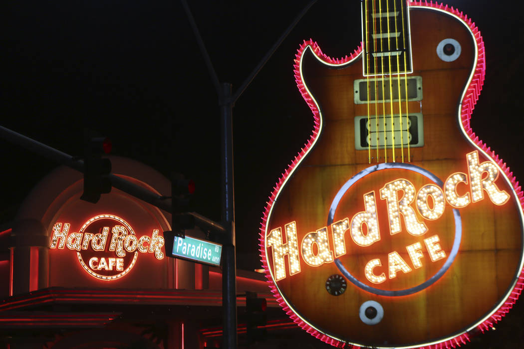 The Hard Rock Cafe on Paradise Road, pictured on Dec. 24, 2016 in Las Vegas. (Mark Antonuccio/Las Vegas Review-Journal)