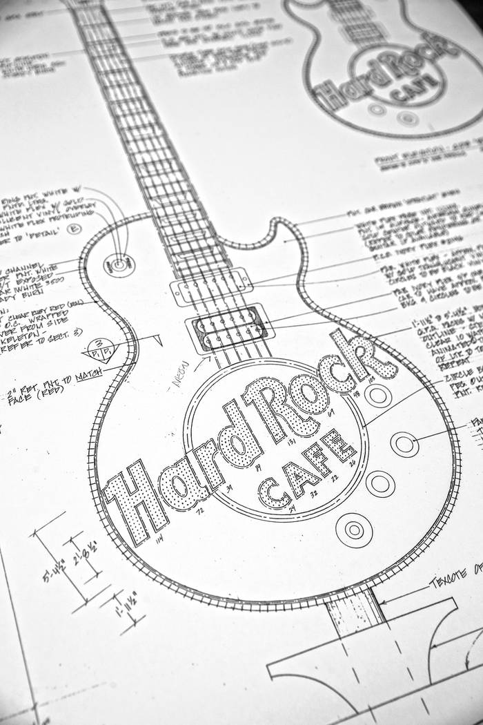 The original YESCO designed sketch of the recently removed neon guitar from the Hard Rock Cafe Las Vegas on Monday, January 22, 2018, at YESCO headquarters, in Las Vegas. Benjamin Hager Las Vegas  ...